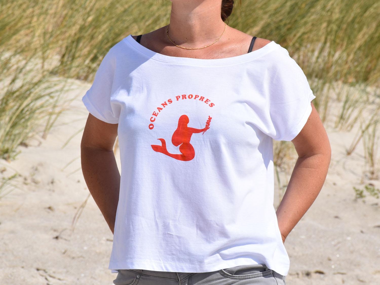 T-shirt femme sirène océans propres blanc rouge
