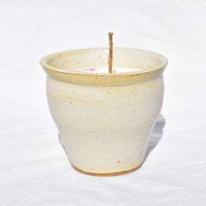 Bougie naturelle pot en grès blanc crème