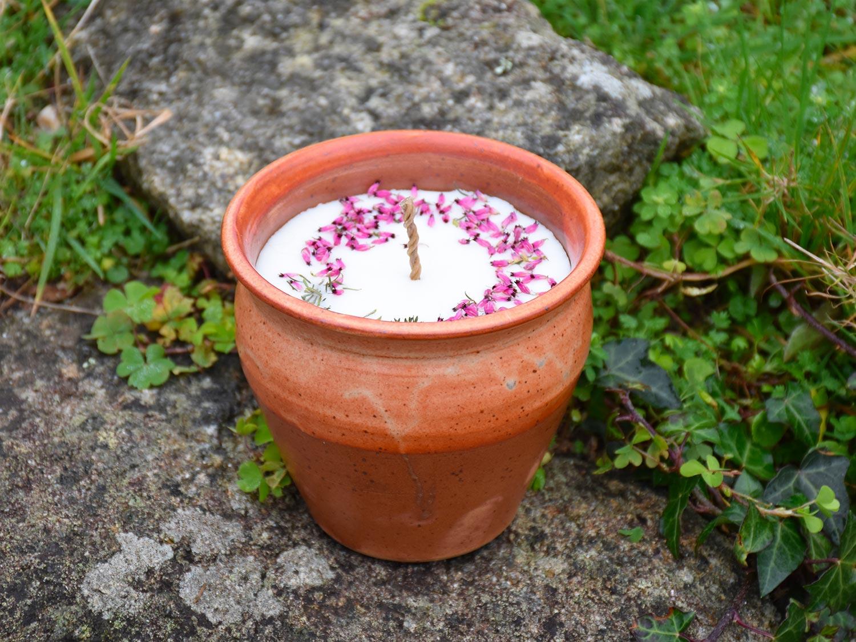Bougie artisanale pot en grès rustique