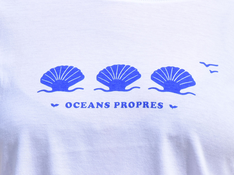 T-Shirt Femme blanc, coquillages bleus