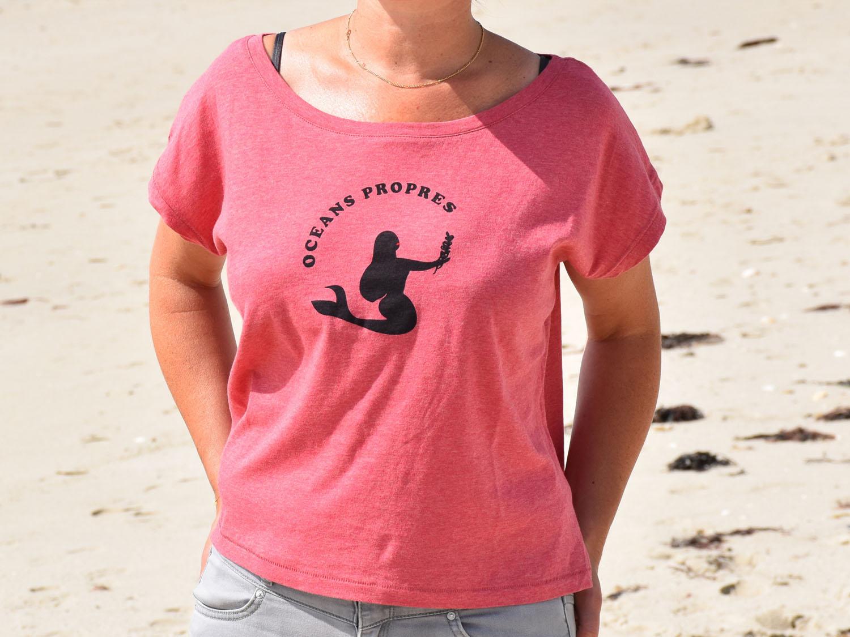 T-Shirt Femme rose, sirène noire