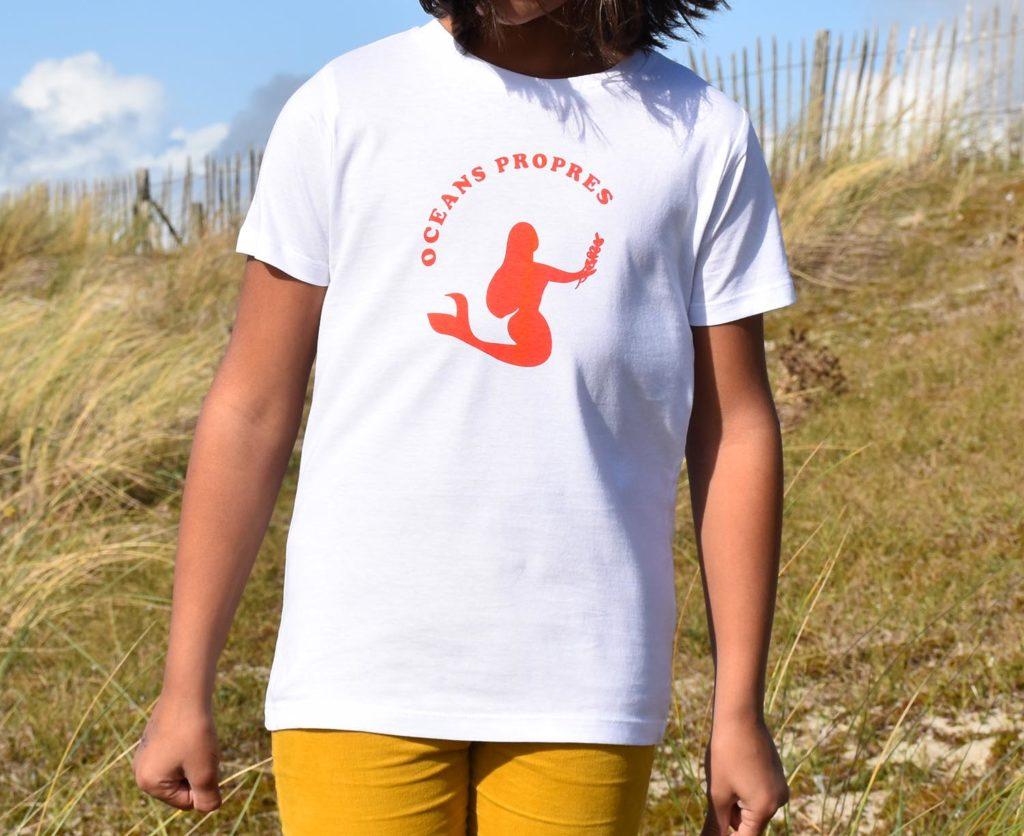 T-Shirt Fille blanc, sirène rouge