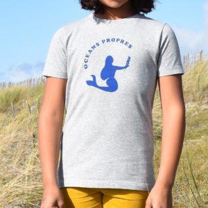T-Shirt Fille gris, sirène bleue