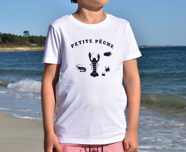 T-Shirt Garçon blanc, petite pêche bleu-marine