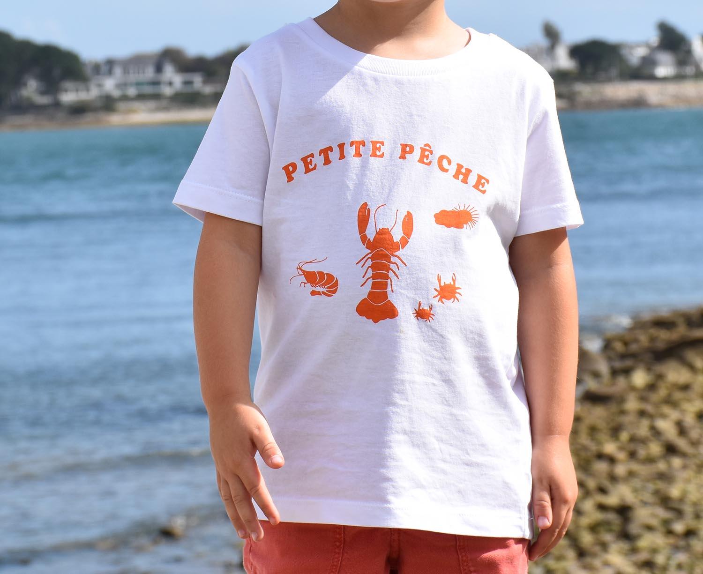 T-Shirt Garçon blanc, petite pêche orange