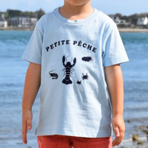 T-Shirt Garçon bleu ciel, petite pêche bleu-marine