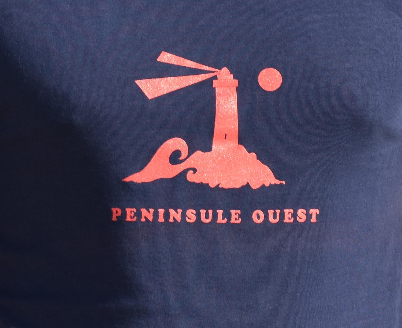 T-Shirt Homme bleu-marine, phare rouge