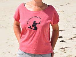 T-shirt Femme rose, sirène noire océan propre