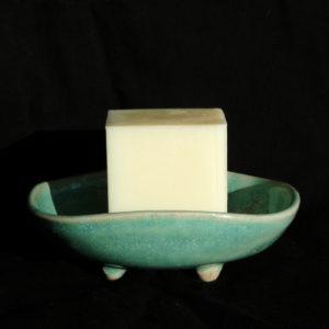 Porte-savon en grès turquoise