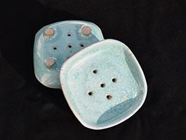 Porte savon grès turquoise