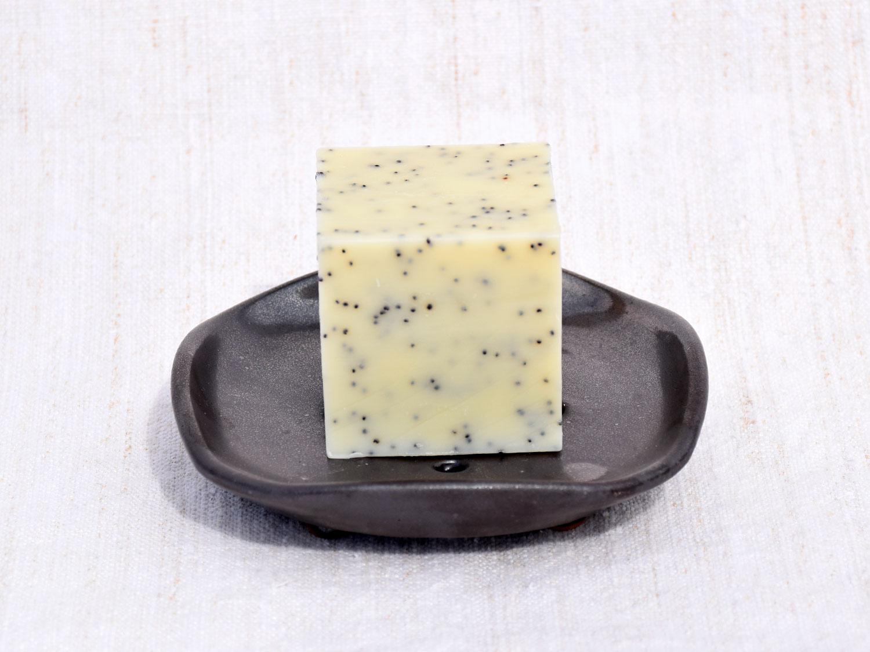 Porte-savon en grès gris anthracite